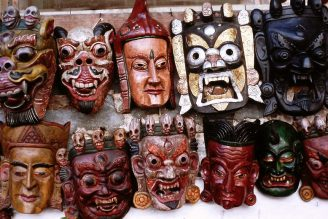 Carved wooden masks, Katmandu
